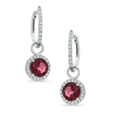 Zales 7.0mm Cushion-Cut Garnet and Lab-Created White Sapphire Frame Drop Earrings in Sterling Silver 8W47fIr