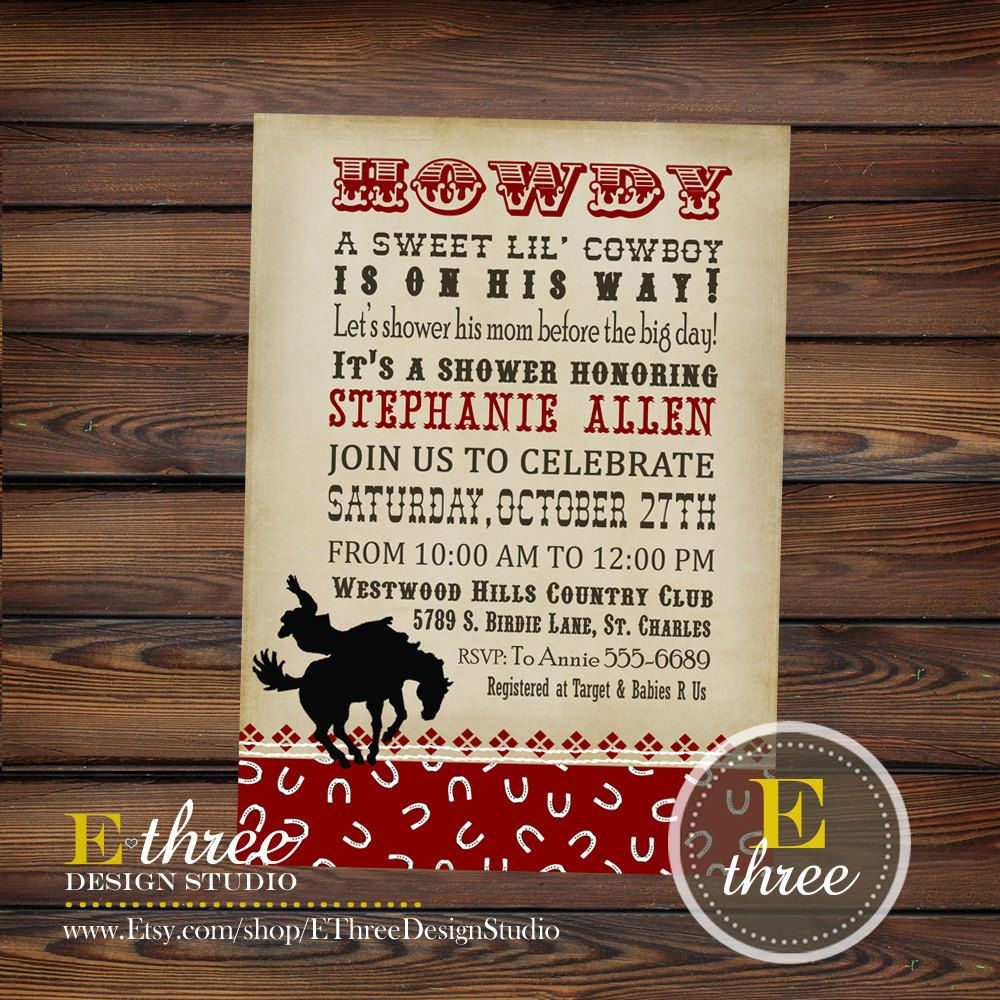 Printable Baby Shower Invitation Cowboy By Ethreedesignstudio