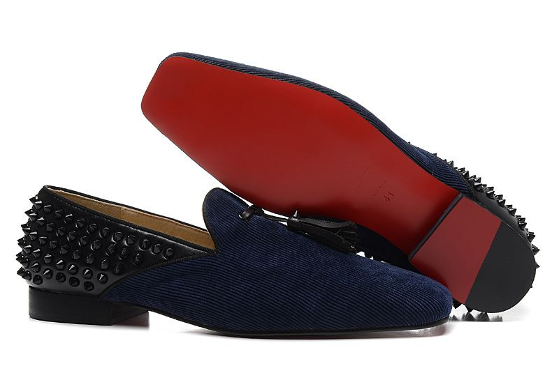 66f9b5fa4246 Christian Louboutin Tassilo Spikes Cotton Mens Flat Loafers Shoes Navy