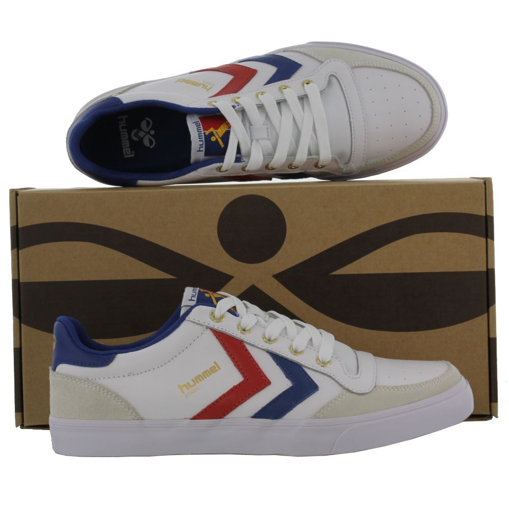 the latest d8e43 b1b3d Hummel - Stadil Low Leather - White Blue Red Gum - Mens ...