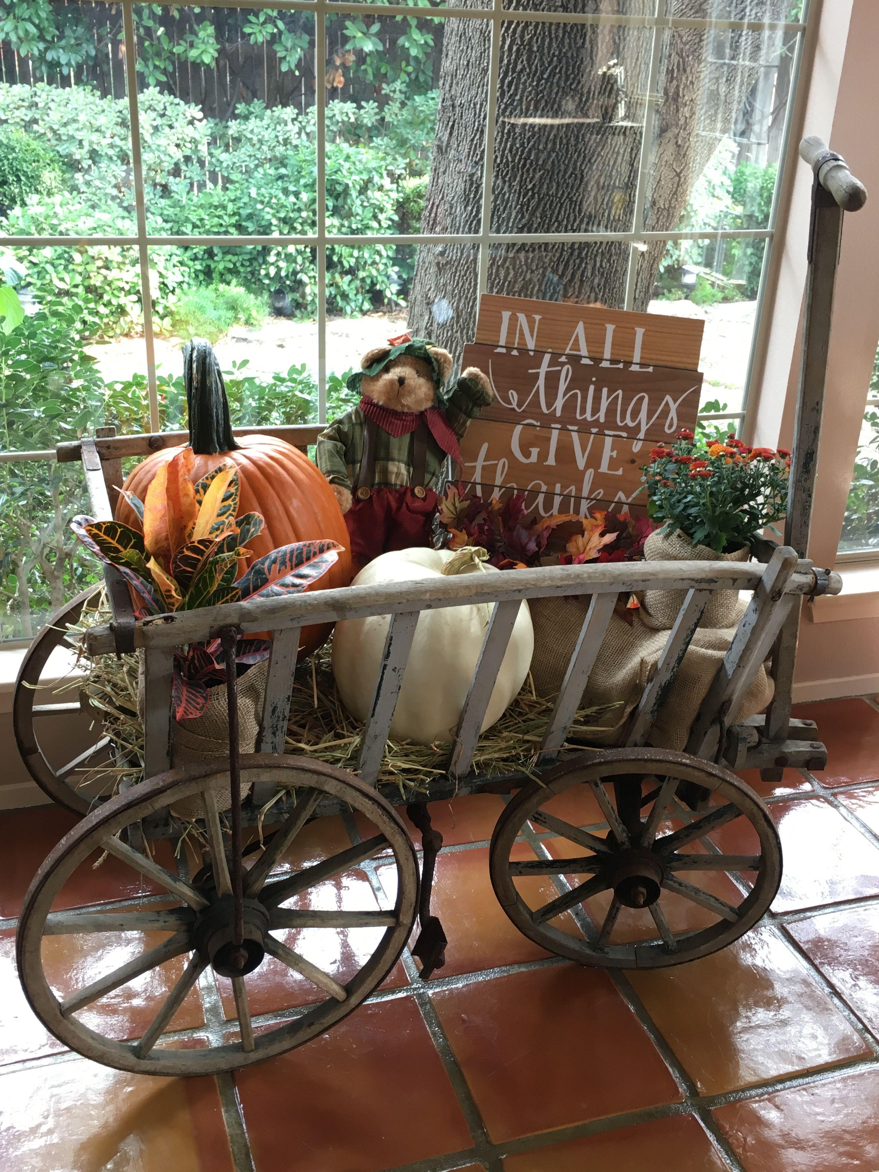 Prim Fall Wagon Diy For Fall Fall Fall Decor Autumn Decorating