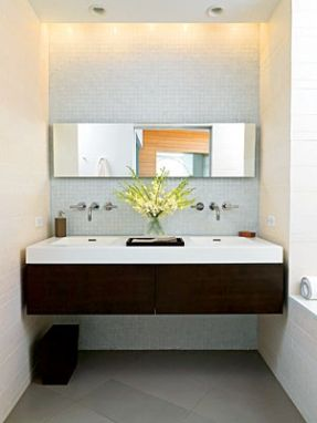 Interesting use of a long narrow mirror over two sinks i - Narrow width bathroom vanity ...