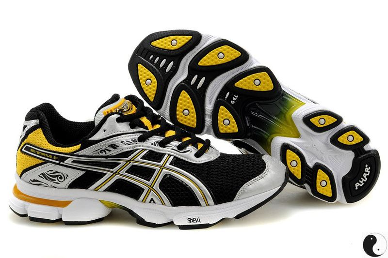 2d19cc1c2d61 Asics Gel Stratus 2.1 Black Yellow Silver 0608