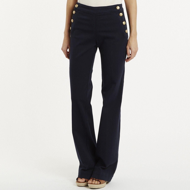 pantalon pont flare en toile de jean d tails de boutons. Black Bedroom Furniture Sets. Home Design Ideas