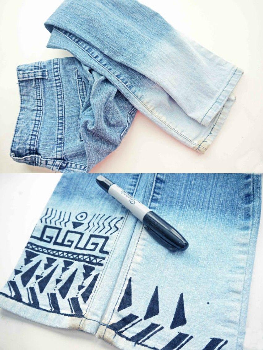 dba3b03ac7 15 Impresionantes maneras de darles un toque especial a tus viejos jeans  favoritos. jeans con decoracion tribal con plumon sharpie
