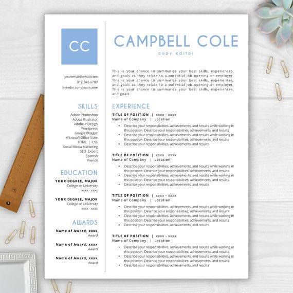 Stand Out From The Competition With This Best Selling Résumé Template From The  Résumé Template. Monogram TemplateCover Letter ...  Template Cover Letter For Resume