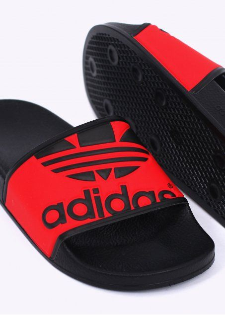 f2d5a74491ba adidas Originals Adilette Trefoil - Black   Red Addidas Sandals