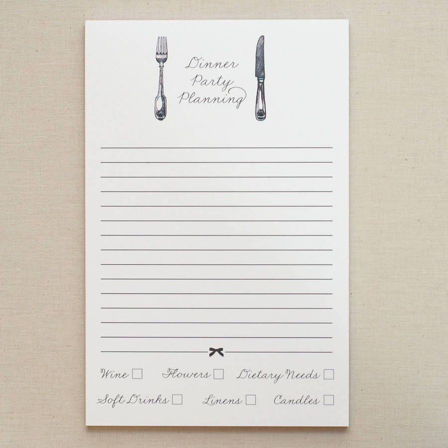 dinner party notepad by fraser & parsley | notonthehighstreet.com