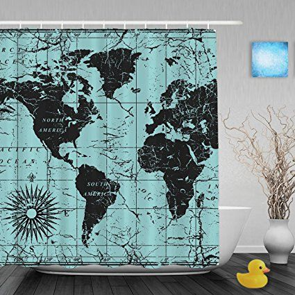 Vintage world map decor bathroom shower curtains compass ocean vintage world map decor bathroom shower curtains compass ocean journeys voyager shower curtain waterproof mildew ployster fabric 66x72inch gumiabroncs Image collections