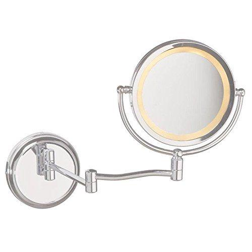 Inspirational Dainolite Lighting MAGMIR W SC Swing Arm Lighted Magnifier Mirror Satin Chrome Finish