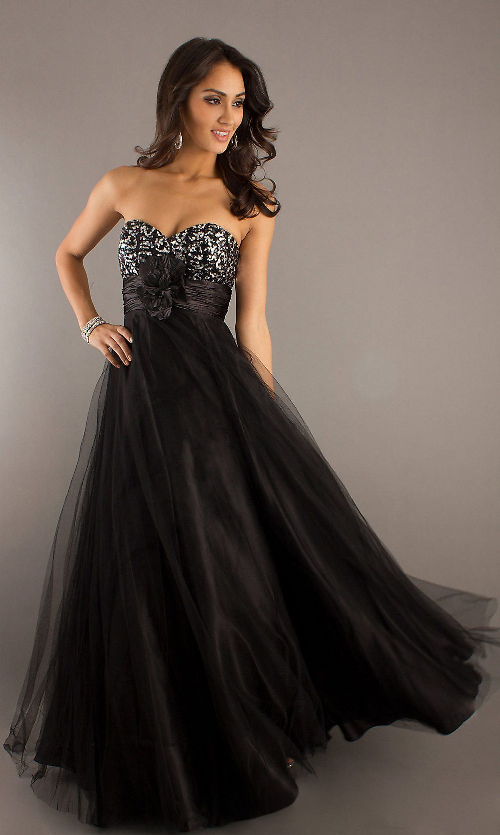 Empire black long prom dress flowy strapless sequin bodice empire black long prom dress flowy strapless sequin bodice ombrellifo Gallery