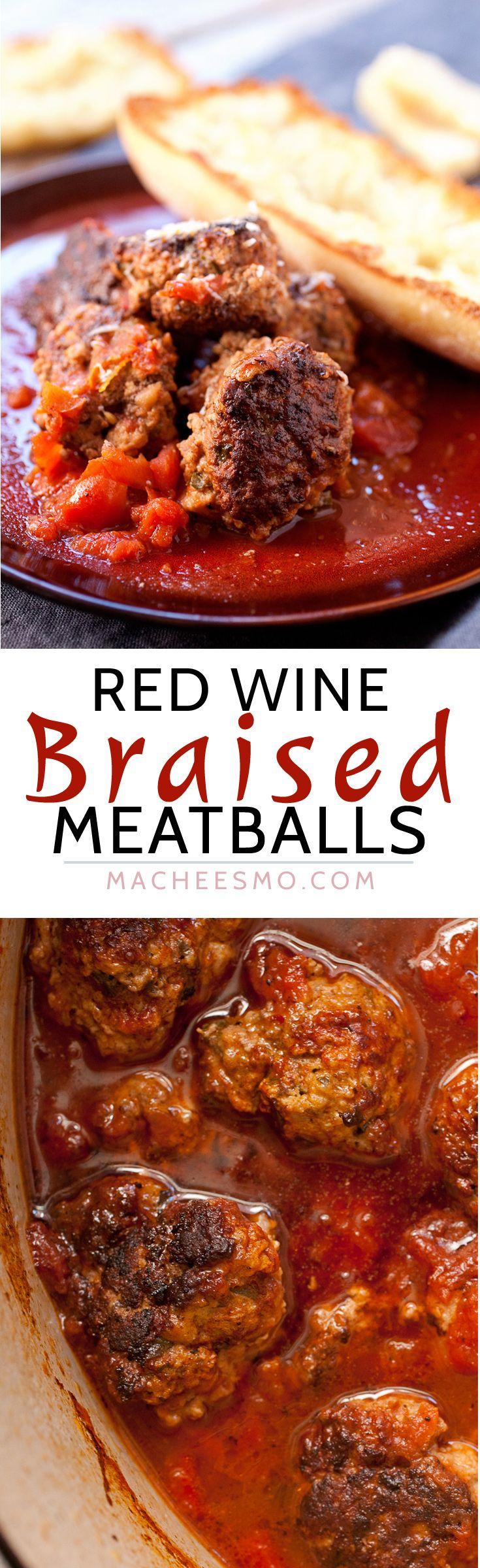 Braised Meatballs In Tomatoes And Red Wine Macheesmo Recipe Braised Meatballs Cooking Recipes