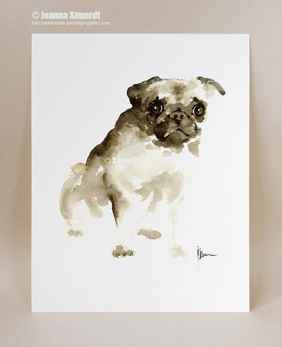 Pug Dog Wall Art Watercolor Painting Brown Dog Portrait Pet
