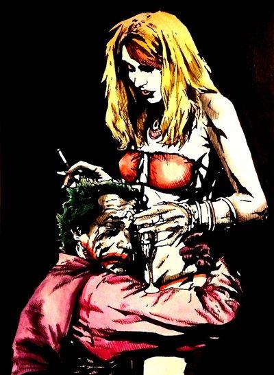 Joker Harley watercolor Art Print