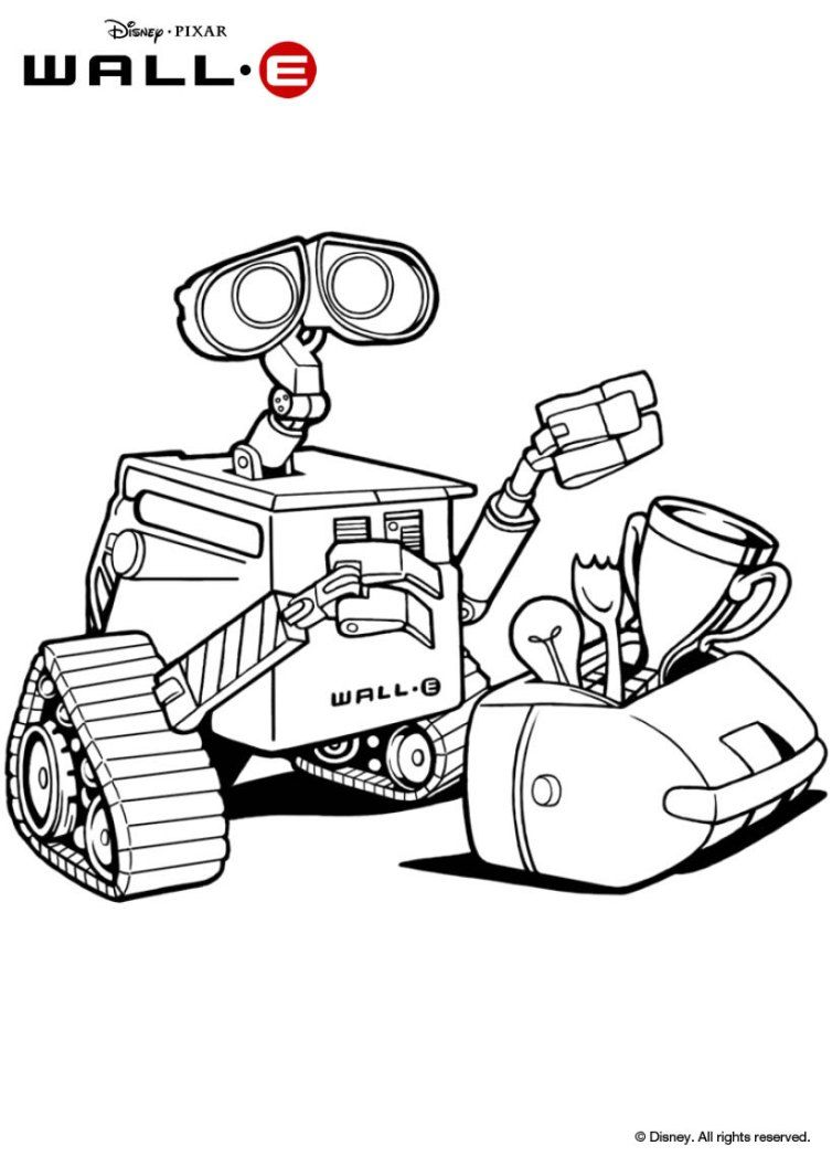 Walle color page robot theme pinterest walls adult coloring