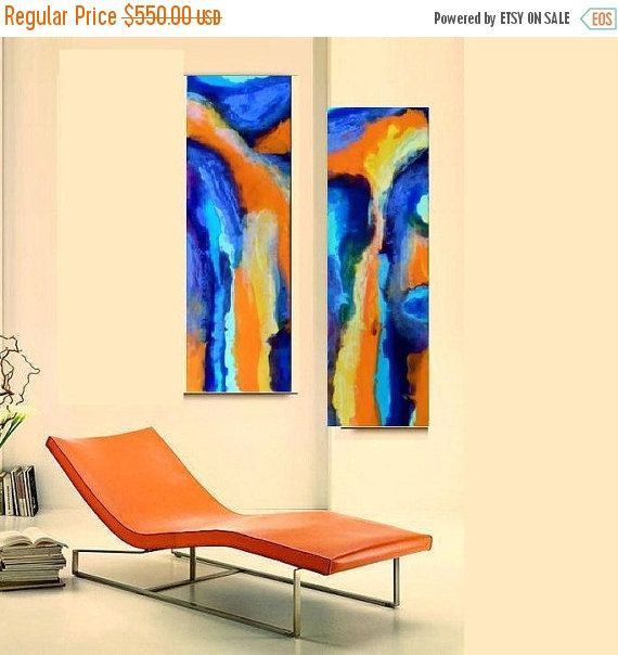 Diptych Abstract Resin Paintings on 2 Large Canvas Free US Shipping ...