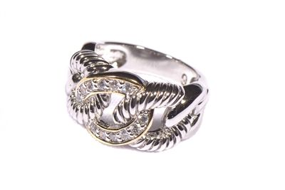 Intertwining bands criss-cross creating this elegant pave accented ring in two tone gold and rhodium plate. The Love Lock Ring. Glint Accessories www.GlintAccessories.com