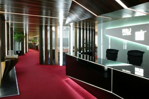 Office Design Office With Red Carpet And Black Furniture