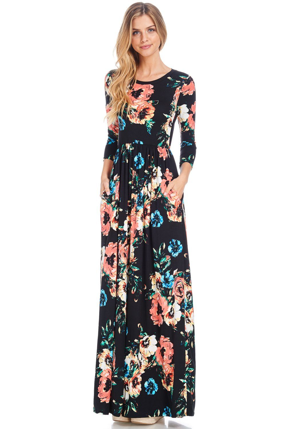 f31a53276b7 Gorgeous Floral Maxi Dress with 3 4 sleeves featuring hidden pockets! Such  a flattering dress. We added this dress to the shop after seeing a friend  wearing ...