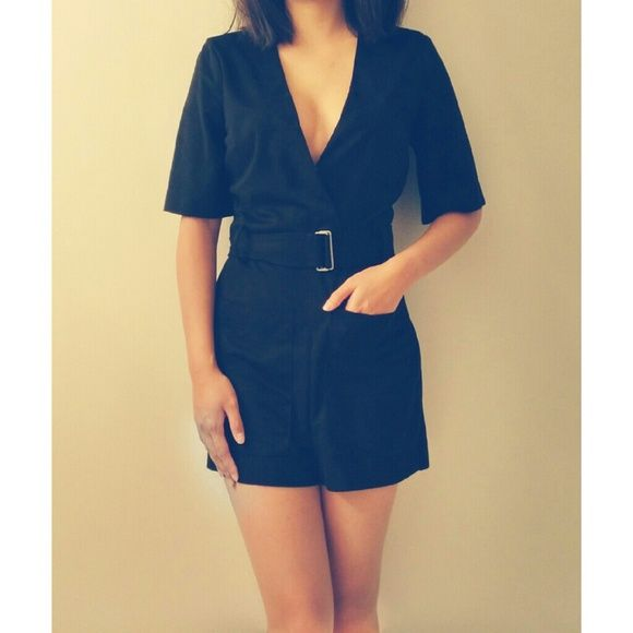 047db5bded39 Zara Black Suede Romper Faux suede romper from zara. Worn once. Pic 2 shows