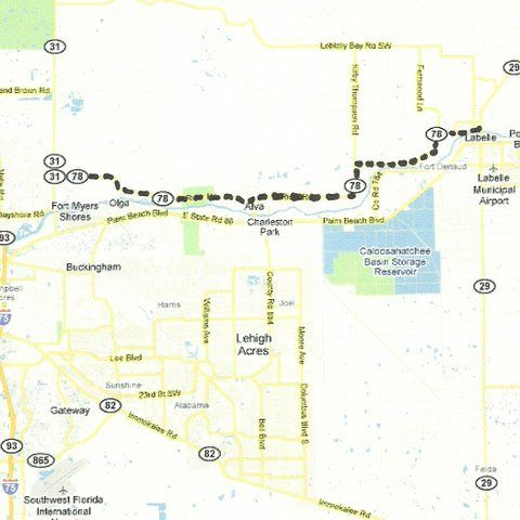 Where Is Labelle Florida In The Map.Florida Backroads Travel Map Of State Road 78 Along The North Side