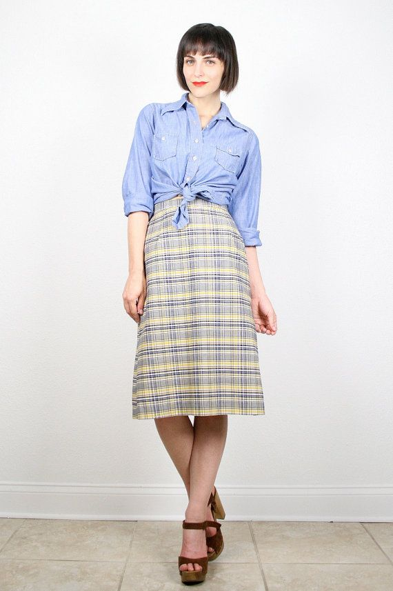 0e2498bcd280ad Vintage Midi Skirt Knee Length Skirt Navy by ShopTwitchVintage #etsy #70s # 1970s #plaid #skirt #preppy #midi