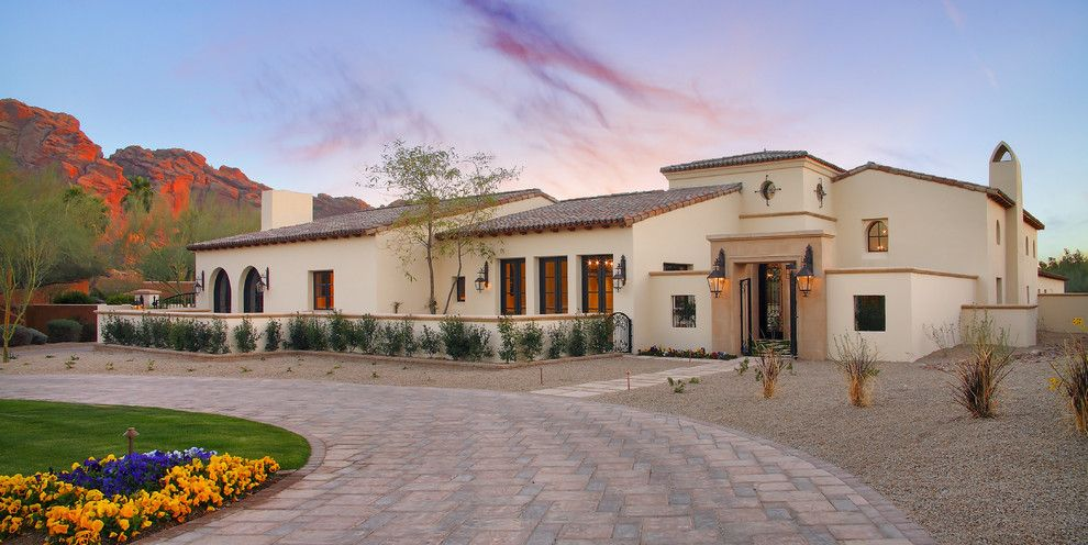 Impressive Mexican Hacienda House Plans Ideas In Exterior Mediterranean  Design Ideas With Circular Driveway Circular Window
