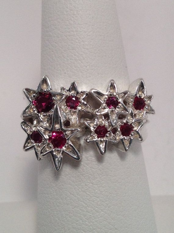 All Star Ring, sterling silver, rubies, genuine rubies, stars, celestial, cosmic, whimsical, handmade, hand carved, bold ,unique, ruby-46