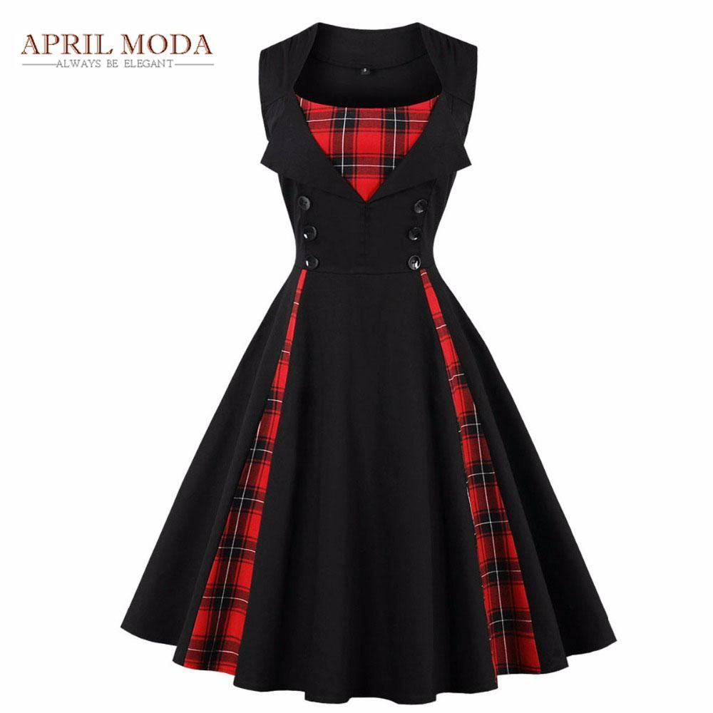 Goth Women Vintage Tartan Mid 50s Swing Dress Sleeveless Plaid Rockabilly Dress