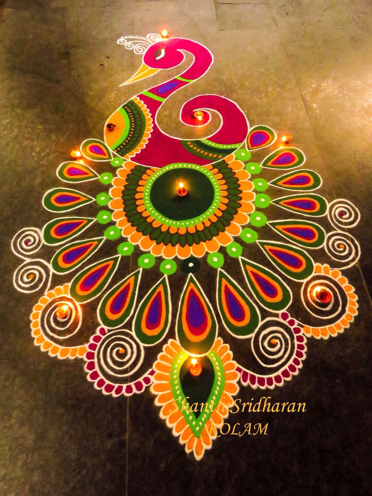 Peacock Rangoli Image Free hand rangoli design