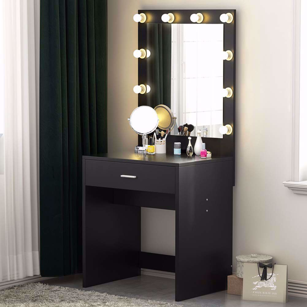 Tribesigns 10 Led Lighted Vanity Table Set With Huge Mirror And Drawer Makeup Desk Sleek And Simp Vanity Table