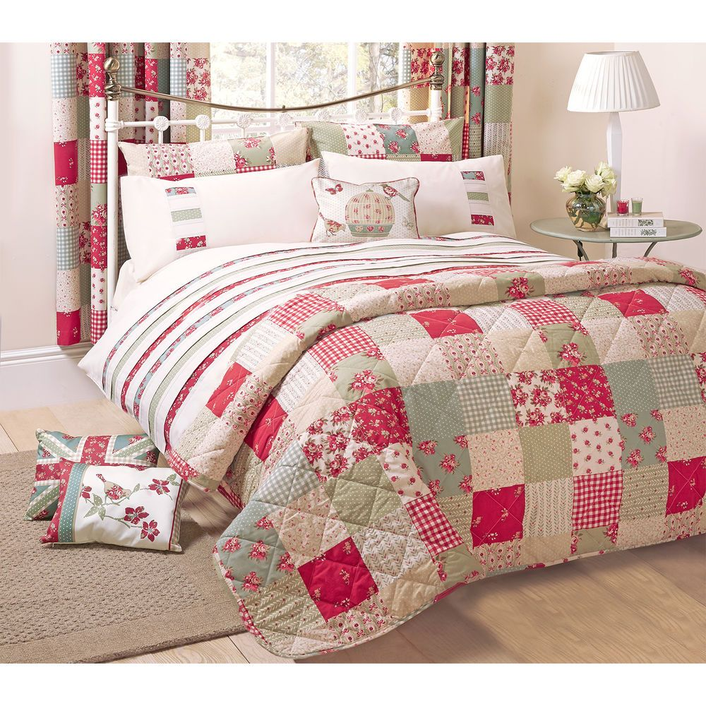 Vintage Patchwork Bedspread – Floral Polka Dot Green Cream & Red ... : patchwork comforters throws and quilts - Adamdwight.com