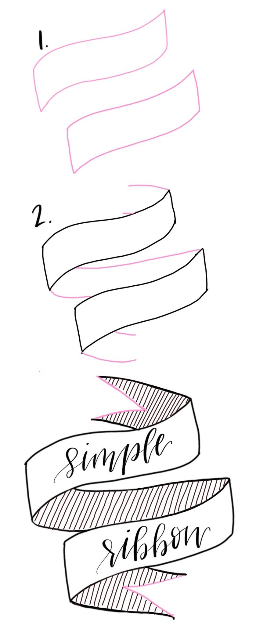 how to draw a banner ribbon step by step