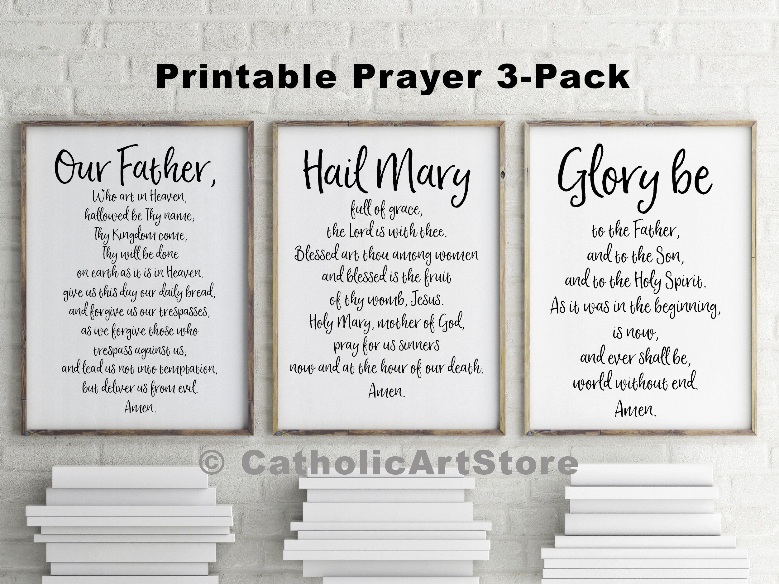 Our Father Hail Mary Amp Glory Be Printable 3 Prayer Pack