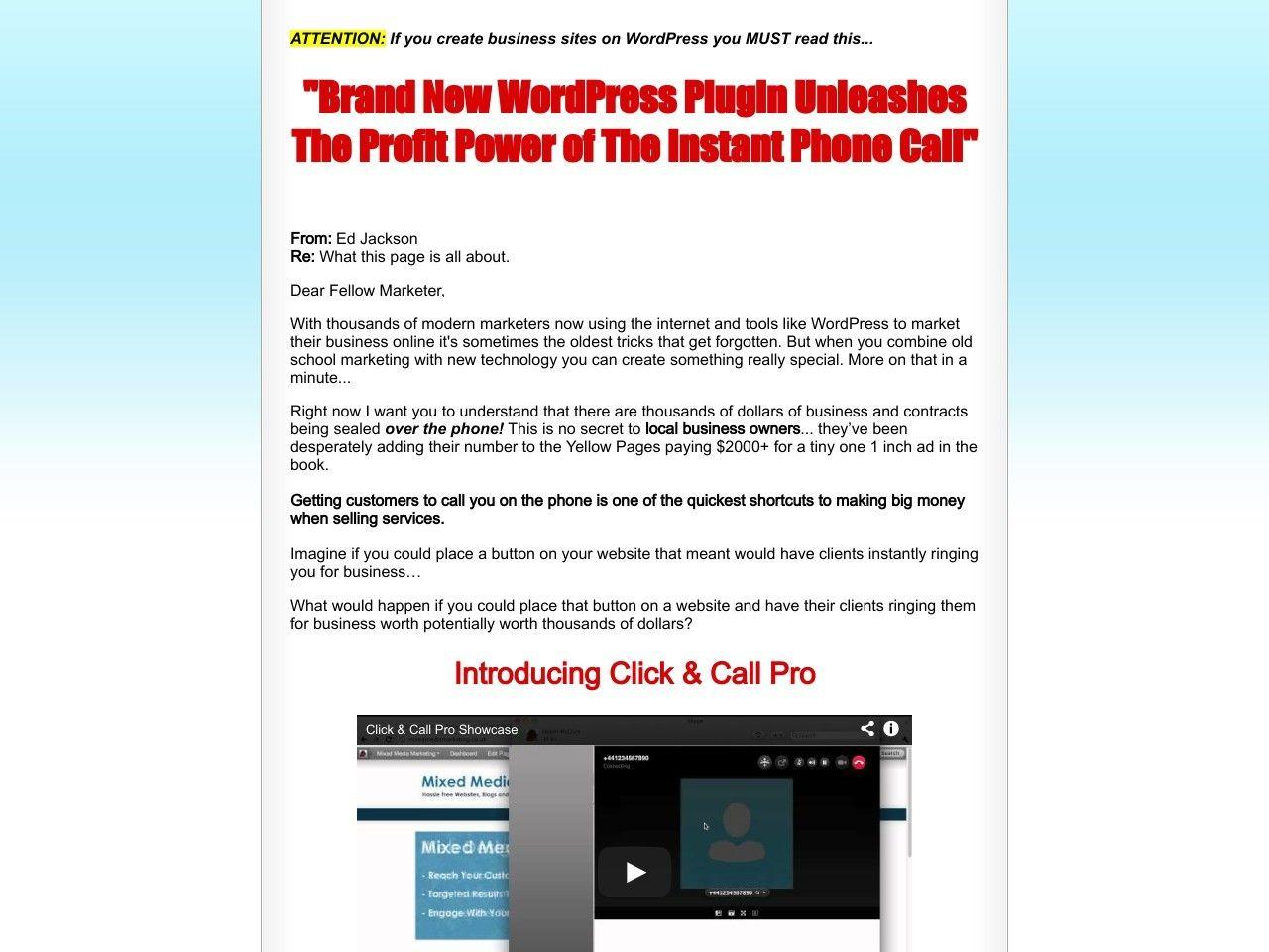 ① Click & Call Pro - Wordpress Plugin - http://www.vnulab.be/lab-review/%e2%91%a0-click-call-pro-wordpress-plugin