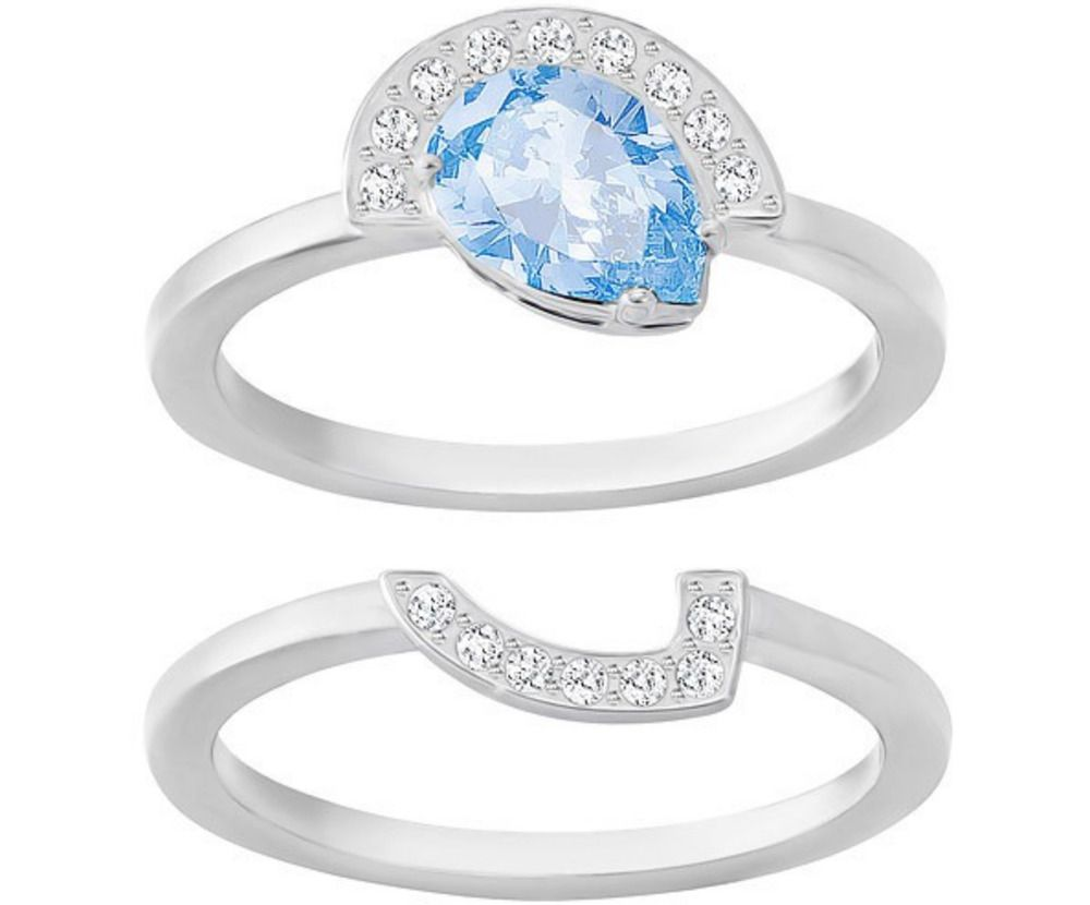 Swarovski Crystal GALLERY Blue Pear Ring Fitted 2-Piece Set Silver ...