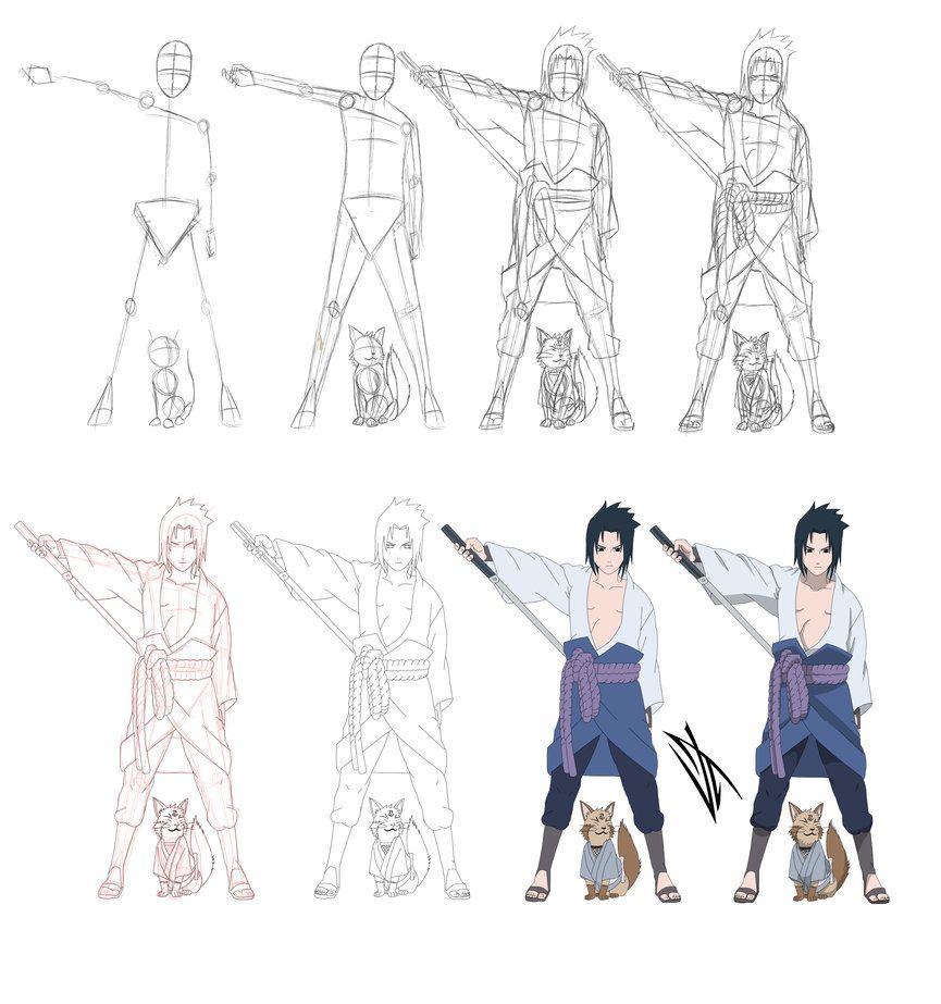 Step By Step Uchiha Sasuke By Johnny Wolf Deviantart Com On
