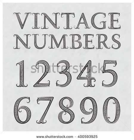 Numbers In Floral Baroque Style Font Vintage On A Gray Textured Background