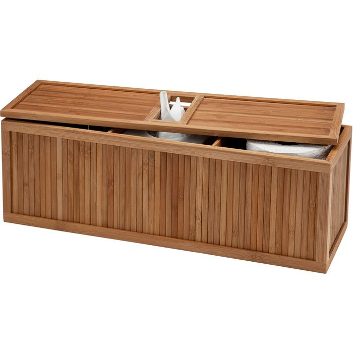 Now This Is Neat A Bamboo Tank Topper With Three Interior Compartments For Extra Toilet Paper Kleenex Creative Bath Over The Toilet Cabinet Toilet Tank