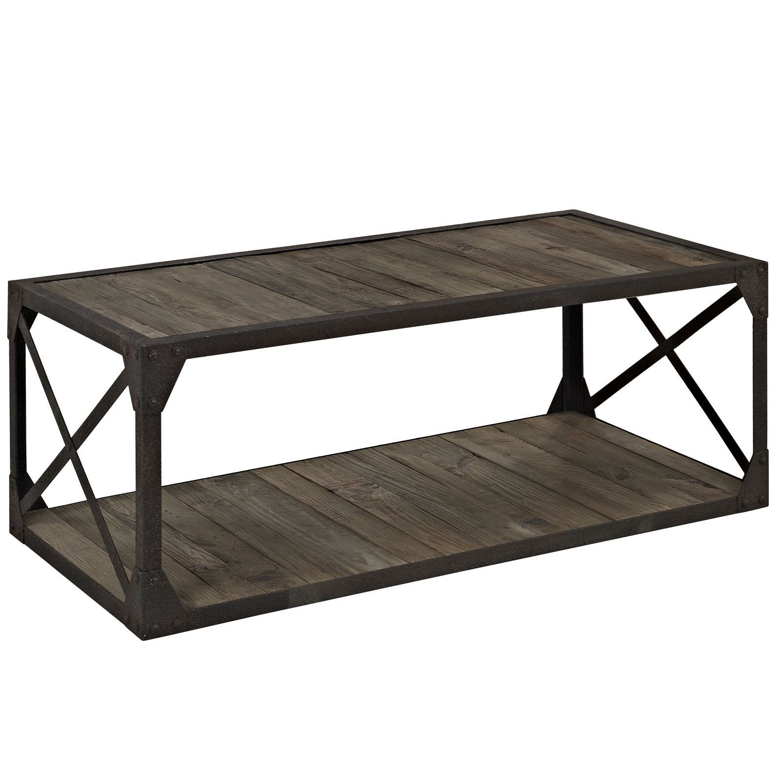 Suffolk Simplicity Reclaimed Wood Square Industrial Coffee: Industrial Modern Coffee Table – First Of A Kind