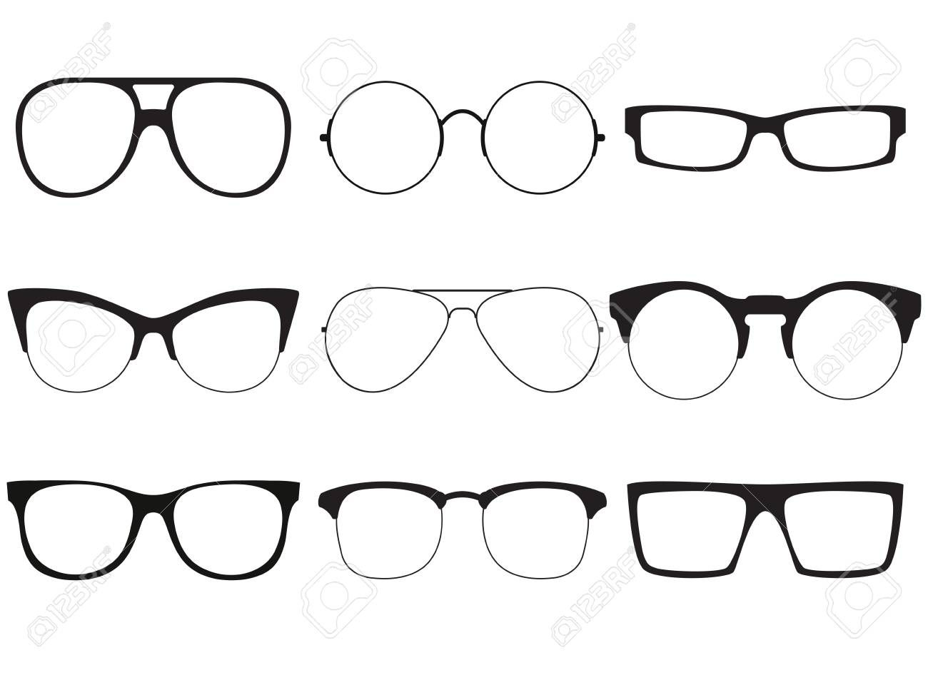 Set Of Vector Outlines Of Sunglasses Illustration Affiliate Vector Set Outlines Illustr Anime Male Face Anime Guys With Glasses People With Glasses