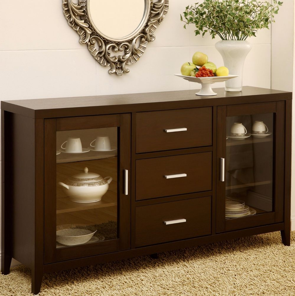 Sideboard Buffet Espresso China Buffet Cabinet Sideboard Hutch Storage Dining Furniture Tv