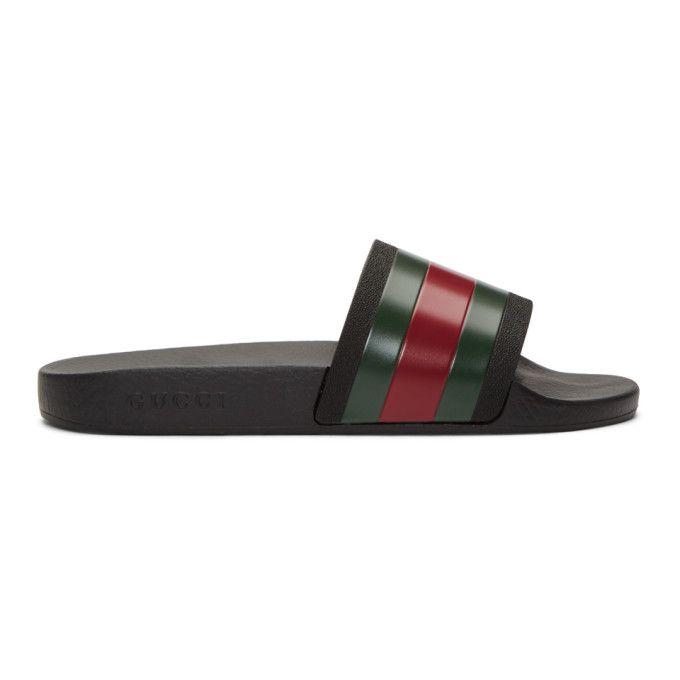 Gucci Web Striped Rubber Slide Sandals