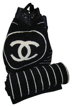Chanel Terrycloth Terry Cloth Beach Towel Beach Summer Logo Black And White  Beach Bag df64eaec97b8f
