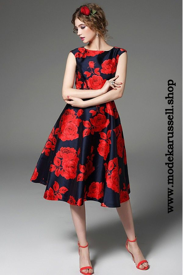 Fashion Blumenkleid Vidette Blau Rot | kleider geburtstagsparty ...