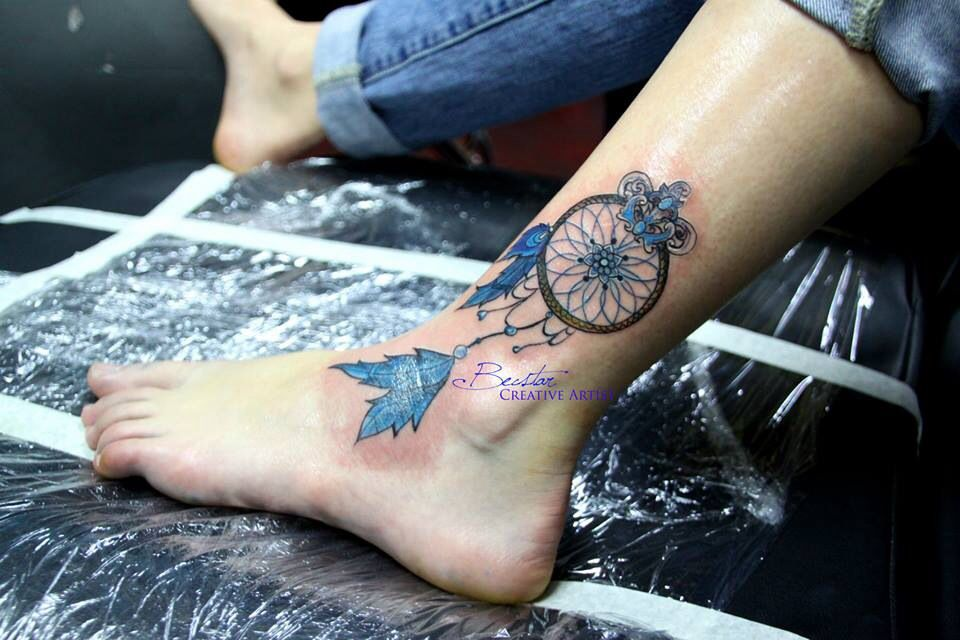Dreamcatcher Tattoo On Ankle Ankle Tattoo Dreamcatcher Tattoo Foot Tattoos