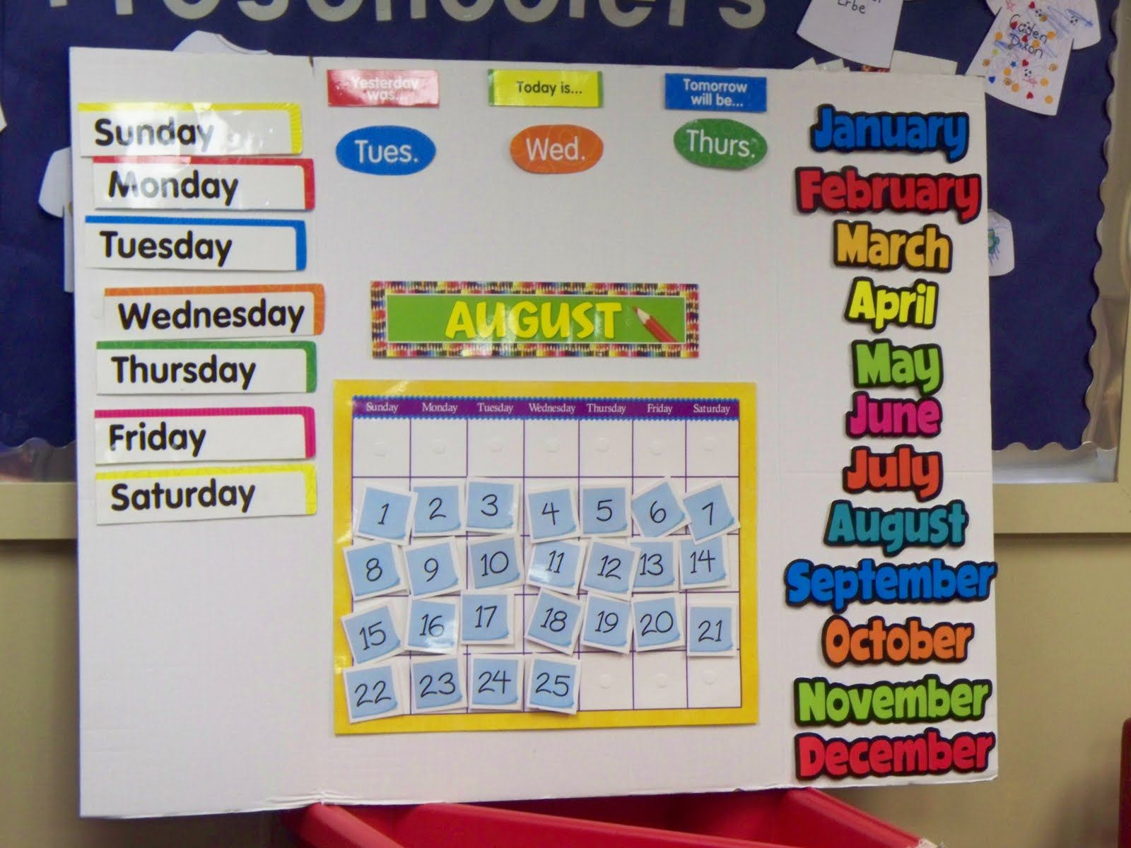 Calendar Ideas For Nursery : Kids classroom calander teach preschool trifold board