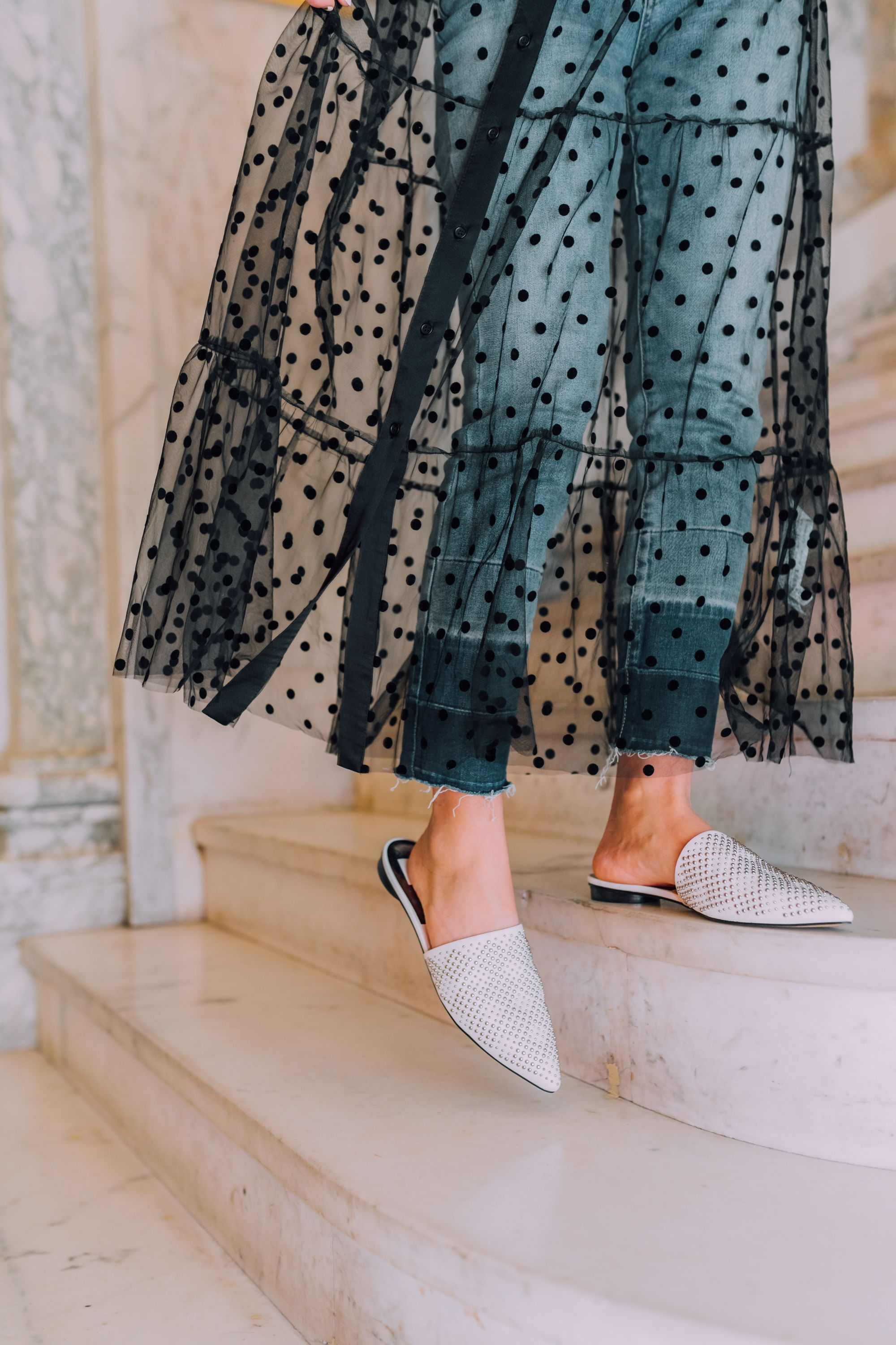 908bf2077c DSW Shoes Spring | Dolce Vita White Leather Studded Ezra Mule | NYC Street  Style Spring