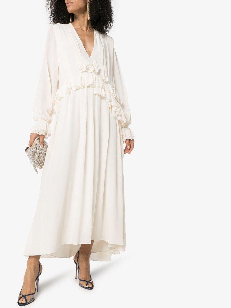 Victoria Beckham Ruffle Silk Midi Dress [ 1067 x 800 Pixel ]