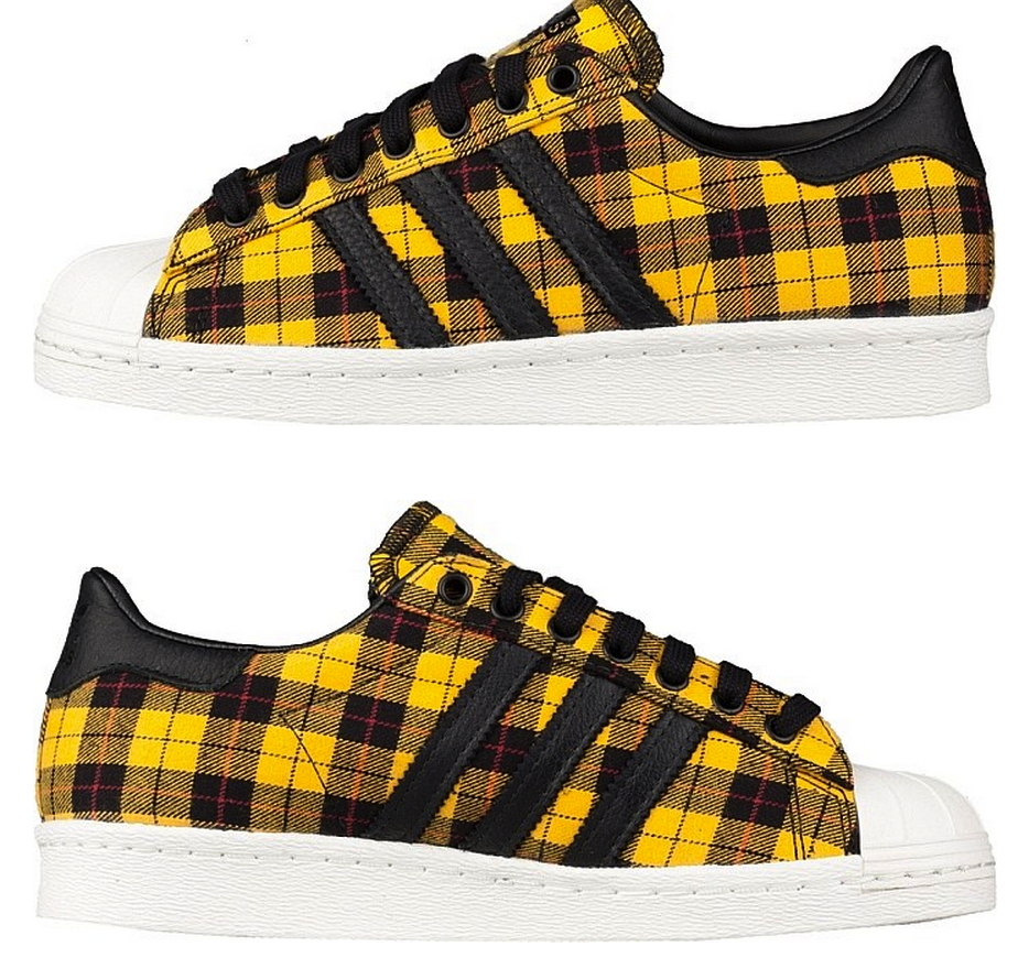 on sale d29db ea4f1 Adidas Originals SUPERSTAR 80 s Flannel Plaid Forest Yellow G95853  179.00